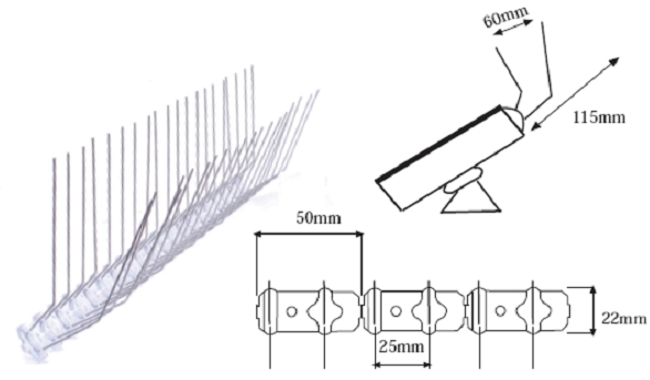 Stainless Steel Spikes To Control Birds At Solar Panels